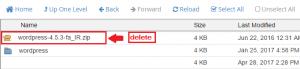 پاک کردن فایل زیپ وردپرس در سی پنل