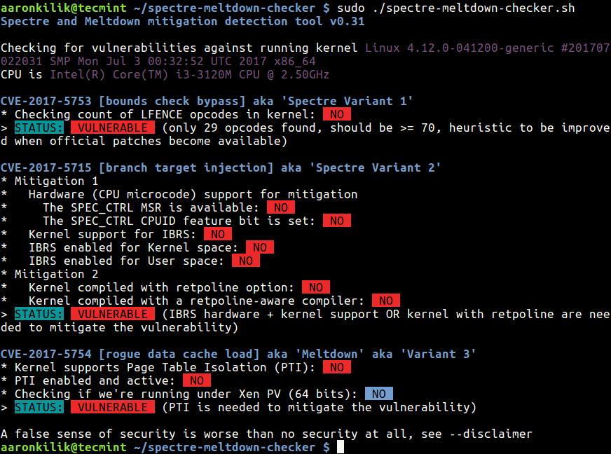 اسکریپت تست کرنل سرور جهت بررسی نفوذپذیری Meltdown و Spectre