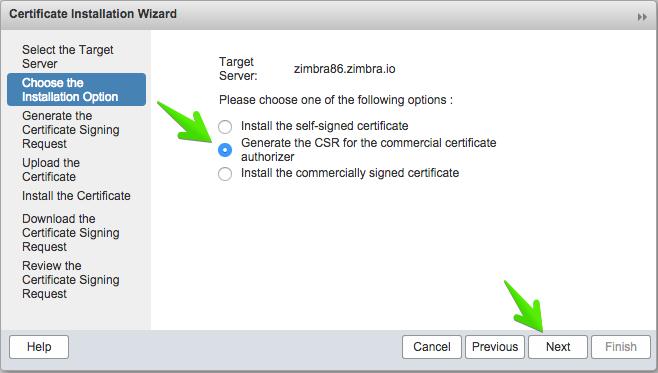 انتخاب گزینهی Generate the CSR for the commercial certificate authorizer