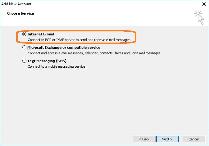 مرحله دوم تنظیم ایمیل در اوت لوک