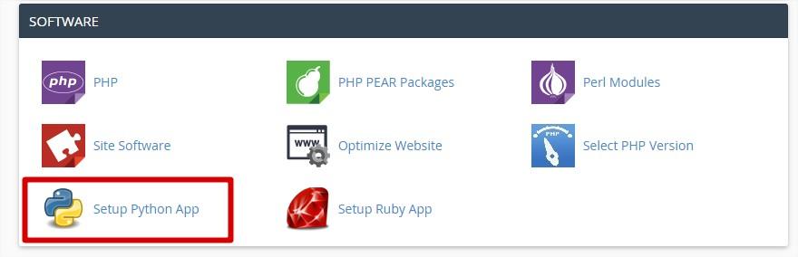 """در صفحهی اصلی سیپنل قسمت """"SOFTWARE"""" را پیدا کنید و بر روی گزینهی Setup Python App کلیک کنید:"""