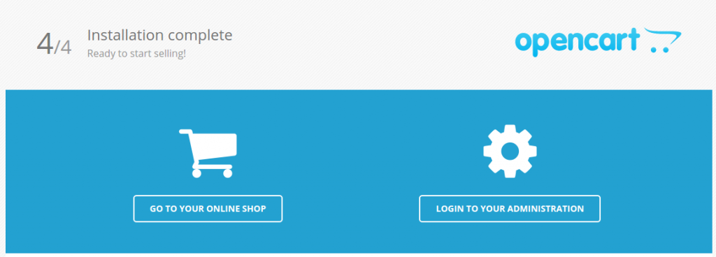 آخرین مرحله نصب Opencart