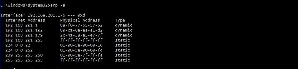 مشاهده فهرست با استفاده از کش پروتکل ARP