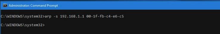اضافه کردن MAC Address به جدول ARP