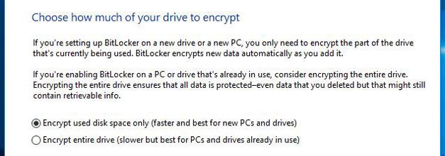 چه مقدار از فضای Drive خودتان را رمزگذاری کنید؟