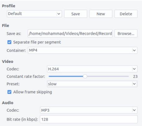 تنظیمات قسمت دوم برنامه Simple Screen Recorder