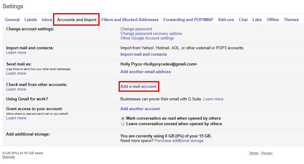 اتصال ایمیل cPanel به Gmail