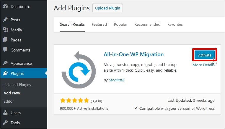مراحل انتقال وب سایت با افزونه All-In-One WP Migration