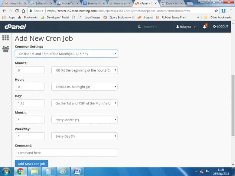 تنظیم cron job